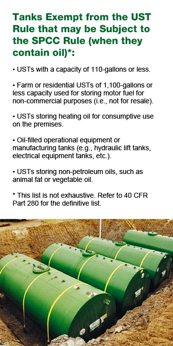 Tanks exempt from UST Rule that may be subject to the SPCC Rule